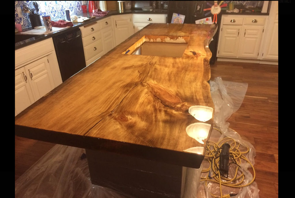 wooden countertop, wood countertop, slab countertop in room