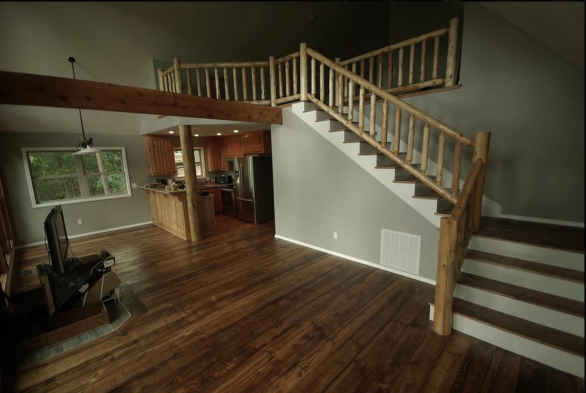 Beautiful log railings in home