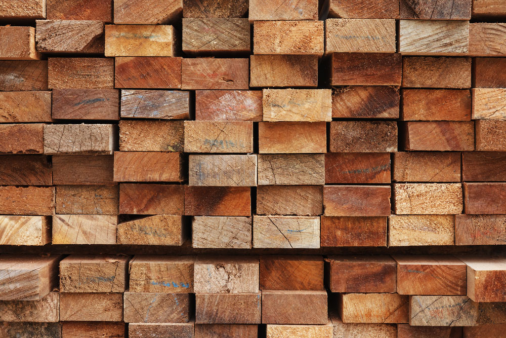 Stacked wood lumber at a sawmill